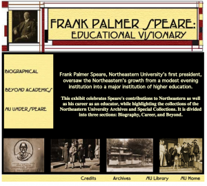 "Home page of ""Frank Palmer Speare: Educational Visionary."""